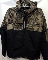 Мужская демисезонная куртка BLK CAMO черная с камуфляжем, ветровка, плащевка, милитари куртка