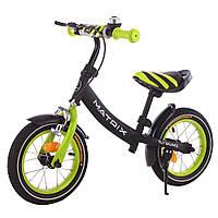 """Детский велобег с ручным тормозом 12"""" Tilly Balance Matrix T-21259 Green, звонок, подножка"""