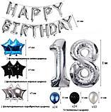Набор Украшений на День Рождение 18-летие из воздушных шаров. Вечеринка Happy Birthday надувные арки фотозона, фото 5