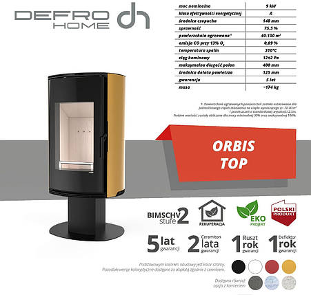 Печь камин DEFRO HOME ORBIS TOP 9 kW, фото 2
