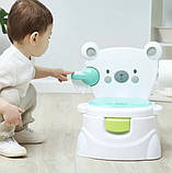 Детский музыкальный горшок для мальчика 3 в 1 «Мишка» 63541 голубой, фото 2