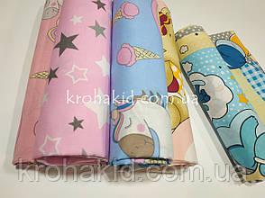 Набор пеленок бязь (3 шт) для девочки  - 90 х 110 см / набор пеленок  из хлопка для девочки - 3 шт в наборе, фото 3