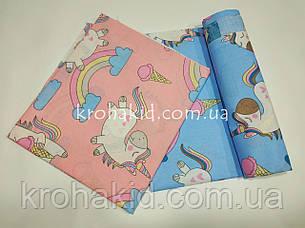 Набор пеленок бязь (3 шт) для девочки  - 90 х 110 см / набор пеленок  из хлопка для девочки - 3 шт в наборе, фото 2