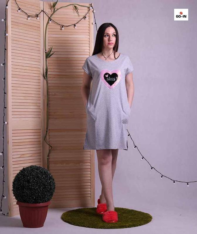 Женское летнее платье свободное хлопковое серое 44-50р.