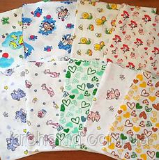 Набор детских ситцевых пеленок (4 шт) для мальчика - 90 х 110 см, фото 2