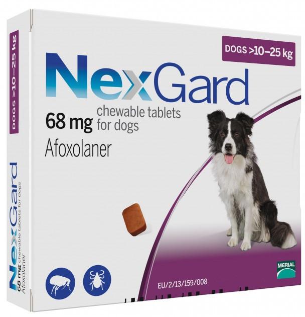 Таблетка від бліх і кліщів Нексгард NexGard для собак від 10 до 25 кг 1 табл.