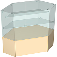 Прилавок торговый с надстройкой из стекла угловой