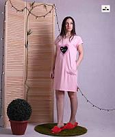 Однотонное летнее трикотажное платье свободное розовое 44-54р.