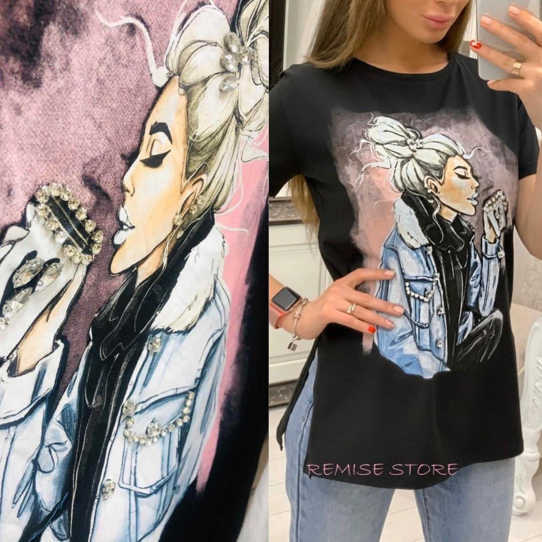 Женская футболка с камнями / Турция 35-3901
