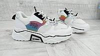 Кроссовки женские кроссовки сетка, 3 цвета  белый,черный, белый с оранжевым