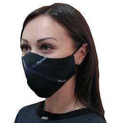 Маска защитная для лица многоразовая с синей тесьмой