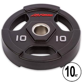 Блины (диски) полиуретановые с хватом и металлической втулкой d-51мм Life Fitness 10кг (черный)