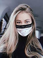 Маска многоразовая женская защитная тканевая бархат со стразами бежевая