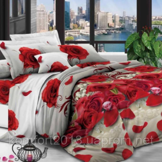 """Комплект постельного белья """"Красная роза"""" Евро, (Простыня стандартная)"""