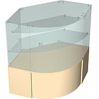 Прилавок торговый с надстройкой из стекла радиусный
