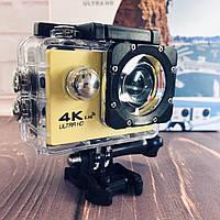 Водонепроницаемая спортивная экшн камера F60 желтая, фото 1