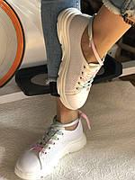 Жіночі кеди-кросівки білі з перфорацією на широку ногу. Розмір 36.37.38.40 Vellena, фото 8