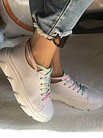 Жіночі кеди-кросівки білі з перфорацією на широку ногу. Розмір 36.37.38.40 Vellena, фото 9