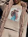 Женский плещевый деми жилет в чрких расцветках с капюшоном 71zi45, фото 7