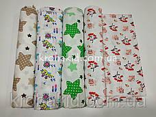 Набор детских ситцевых пеленок (4 шт) для девочки - 90 х 110 см, фото 2