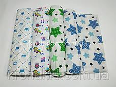 Набор детских ситцевых пеленок (4 шт) для девочки - 90 х 110 см, фото 3