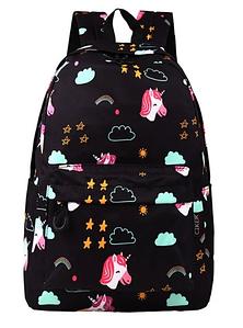 Черный женский рюкзак с Единорогами