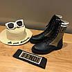 Кроссовки Fendi|Женские кожаные ботинки Фенди текстильные  коричневые вставки с логотипами, фото 5