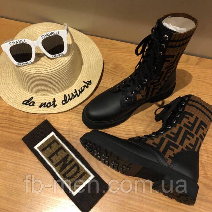 Кроссовки Fendi|Ботинки высокие Фенди женские коричнево-черного цвета кожаные текстильный верх