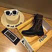 Кроссовки Fendi|Ботинки высокие Фенди женские коричнево-черного цвета кожаные текстильный верх, фото 2
