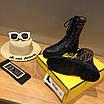 Кроссовки Fendi|Ботинки высокие Фенди женские коричнево-черного цвета кожаные текстильный верх, фото 3