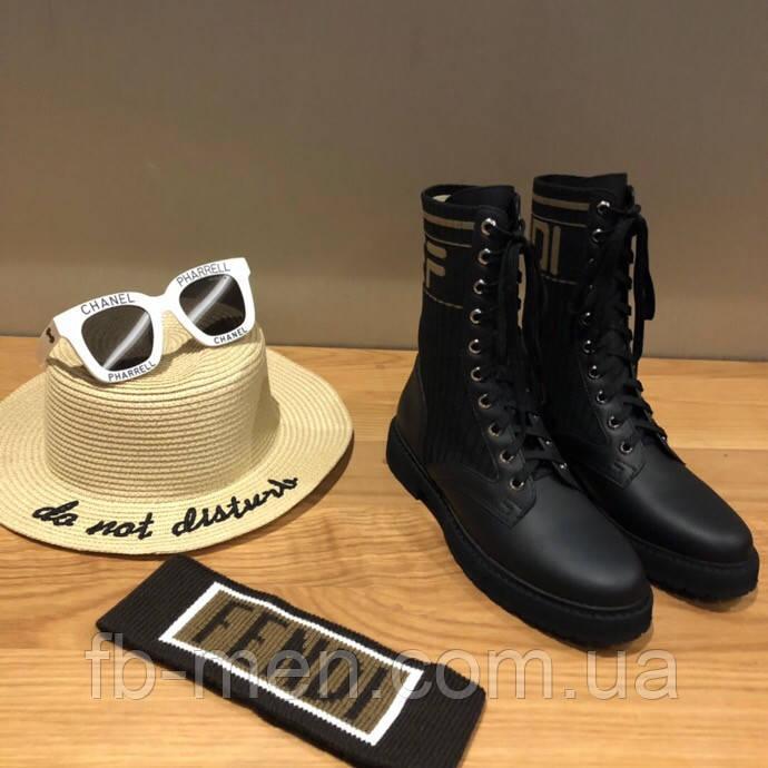 Ботинки Fendi|Ботинки женские Фенди черного цвета высокие на шнуровке