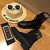 Ботинки Fendi|Ботинки женские Фенди черного цвета высокие на шнуровке, фото 3