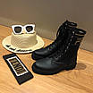 Ботинки Fendi|Ботинки женские Фенди черного цвета высокие на шнуровке, фото 5