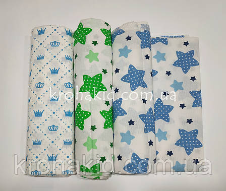 Набор ситцевых пеленок (3 шт) для мальчика  - 90 х 110 см, фото 2