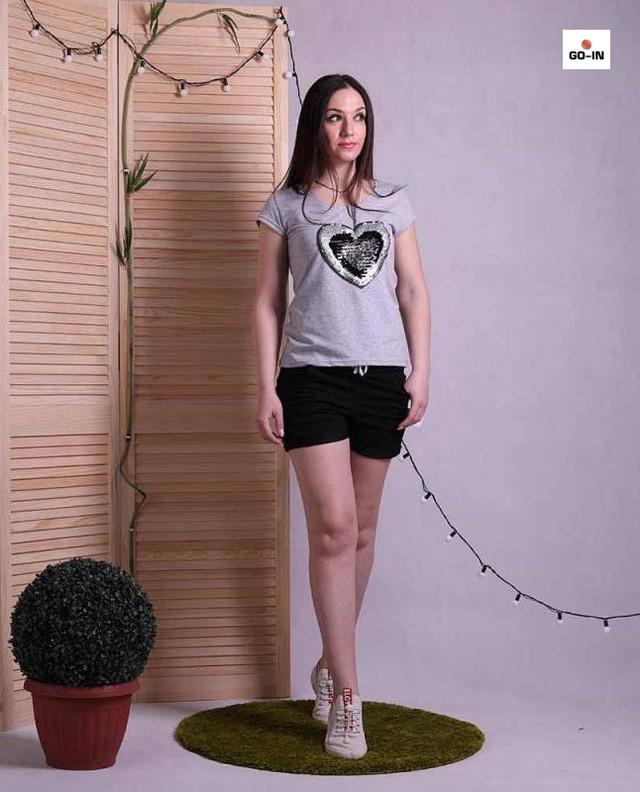 Піжама жіноча літня футболка з шортами бавовняна сіра р. 42-52