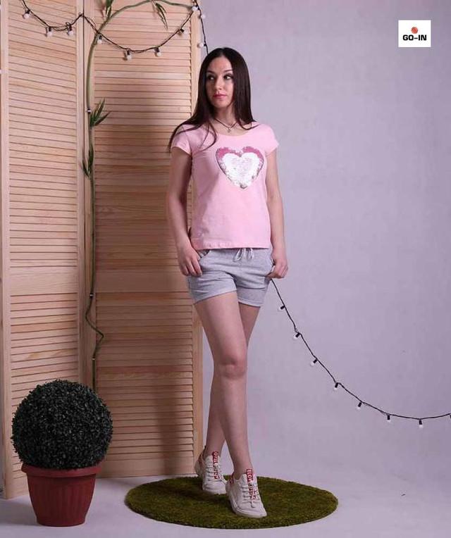 Піжама жіноча літня футболка з шортами бавовняна