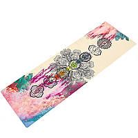 Коврик для йоги Джутовый (Yoga mat) двухслойный 3мм (размер 1,83мx0,61мx3мм, джут, каучук, бежевый, с принтом Чакры Акварель) PZ-FI-7156-4