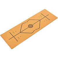Коврик для йоги Пробковый каучуковый двухслойный 4мм Record (размер 1,83мx0,61мx4мм, пробковое дерево, каучук,