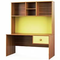 Письмовий стіл Світ Меблів Колібрі 120×161.7×62.8 горіх марино/жасминовий