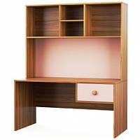 Письмовий стіл Світ Меблів Колібрі 120×161.7×62.8 горіх марино/рожевий