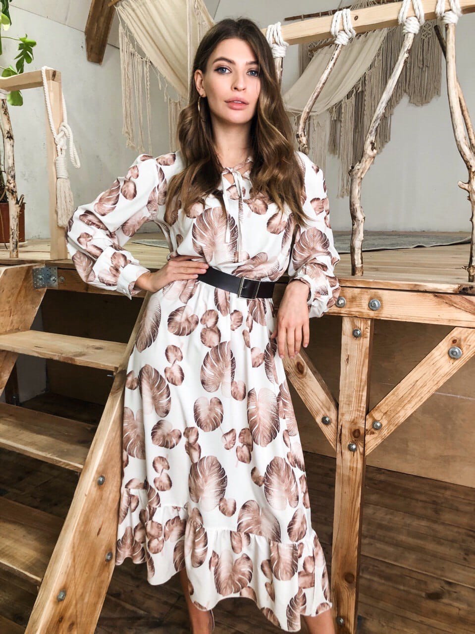 Платье миди из легкого софта в принт с расклешенной юбкой 41ty1013