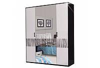 Шкаф распашной Світ Меблів Бася Нова Нейла 4ДЗ 183×212.5×60.5 черный глянец/белый глянец, фото 1
