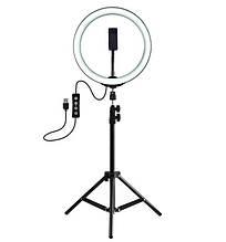 Светодиодная лампа на штативе для блогера селфи фотографа визажиста лешмейкера LED Ring Light D 26 см black