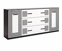 Комод MiroMark Виола 2Д3Ш/2,0м 199,8×84,8×40 черный/белый глянец