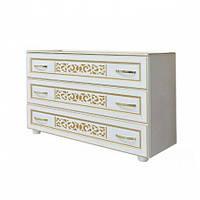 Комод Світ Меблів Поліна Нова 119×82×46 білий/білий художній друк, фото 1