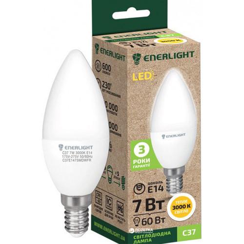 Лампочка свеча светодиодная Enerlight C37 7Вт 3000К Е14 лампа светодиодная