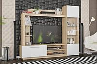 Стенка ТВ Мебель-Сервис Тренто 203,9х176,8х35 дуб самоа\белый матовый