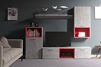 Гостиная стенка под ТВ Gerbor Колибри (+цветные вставки) 215×175,5×42 бетон/красный