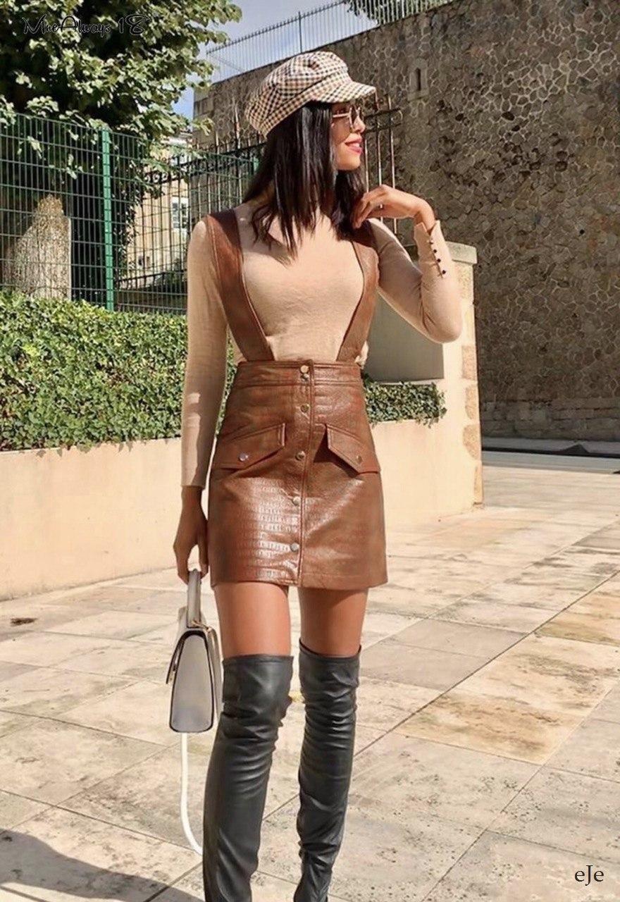 Женская кожаная юбка на лямках с пуговицами спереди 78jus374