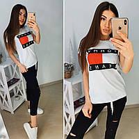 Женский спортивный костюм футболка и капри с разрезами 11msp889, фото 1